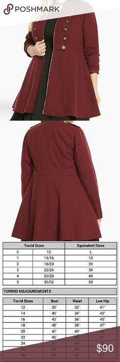 TORRID BURGUNDY MILITARY FIT AND FLARE COAT Size 5 bought this for myself for Christmas but it was too large, it has pocket not like last year's version of the same coat. The coat is out of stock so I can not exchange it. torrid Jackets & Coats