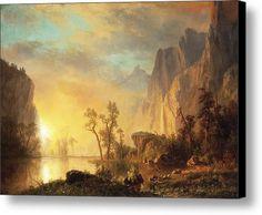Sunset In The Rockies Canvas Print / Canvas Art By Albert Bierstadt