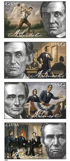 *ABRAHAM LINCOLN ~ To commemorate Abraham Lincoln's 200th birthday (Feb.1809-Feb. 2009), the postal service offered customers stamps depicting Lincoln as a rail-splitter, lawyer, politician and our 16th President.