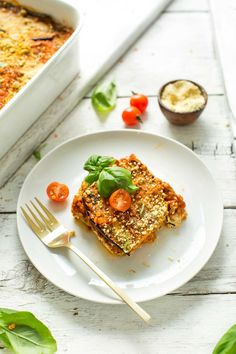 #Eggplant Lasagna with #Lentil Red Sauce 10 ingredients #saucy #hearty #protein packed #vegan #glutenfree #lasagna #recipe #easy #dinner #minimalistbaker