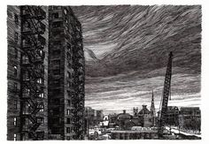 'Construction', Pen and Ink on Paper, Taylor Mazer