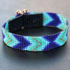 Best Bracelet Perles 2017/ 2018 : Blue and Copper Chevron Bead Loom Cuff Bracelet  by PuebloAndCo, $24.00...