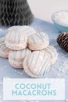Coconut Macarons are way easier than you might think! This French macaron recipe is deliciously flavored with coconut extract and have added shredded coconut to the filling. The perfect dessert for any occasion. Tart Recipes, Baking Recipes, Sweet Recipes, Cookie Recipes, Easy Gluten Free Desserts, Homemade Desserts, Fun Desserts, French Macarons Recipe, Macaron Recipe