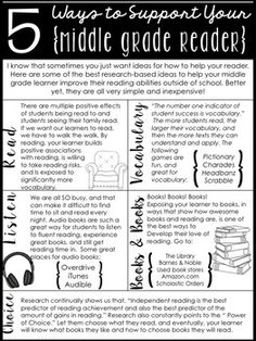 """As a middle grade/middle school teacher, parents typically want ideas for how to help their struggling readers. That's tricky, because I just want to say, """"Read! Read! Read!"""" But I know they might need more direction. I made this hand-out and posted it, along with book recommendation lists, as a FREEBIE in my store for you to use too! Link in profile."""