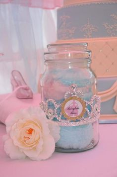 Princess Cinderella Girl Birthday Party Cake Planning Decoration Ideas jars filled with cotton candy