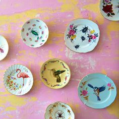 Decorated china plates by Pearl Lowe from her book 'Pearl Lowe's Vintage Craft'