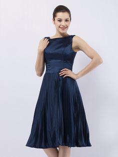 Cocktail Party/Wedding Party Dress - Dark Navy Plus Sizes A-line/Princess Bateau Knee-length Stretch Satin - USD $ 99.99