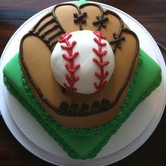 just the glove and ball Baseball Birthday Cakes, Baseball Party, Half Birthday, Birthday Stuff, Birthday Ideas, Cake Cookies, Cupcake Cakes, Cupcakes, Fancy Cakes