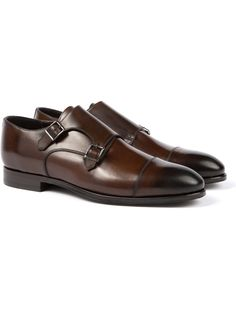 low priced 732fc b38a3 Crafted from soft, supple Abrasivato leather, these elegant double monk  shoes are a handsome completion to any refined getup.