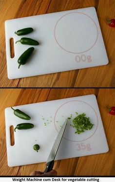 This is awesome! A cutting board that weighs what you cut!
