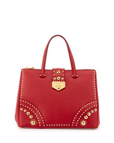 Saffiano Tote Bag with Metal Studs, Red (Fuoco) by Prada at Neiman Marcus.