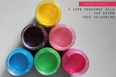 homemade, edible finger paint made with powdered milk (3c powdered milk + 1c water, separate into jars to add food coloring)