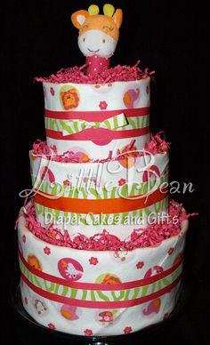 Pink and Orange Safari Animals Diaper Cake by LittleBeanDiaperCake, $69.00