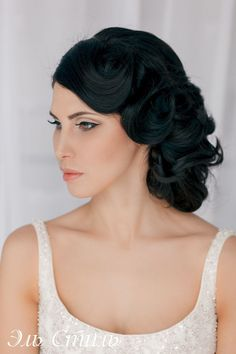 Wedding Hairstyle with sleek curl updo & neutral make-up