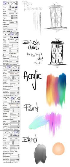 Brush Settings Paint tool sai by sodmerow