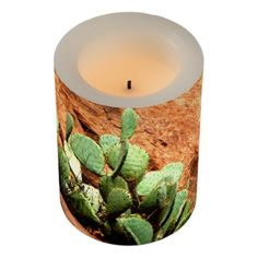 Rustic Cactus on Red Rocks Zion Wrapped LED Candle