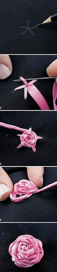 ribbon rose So THAT'S how you do it! They're so pretty, they look like they should be way more difficult!