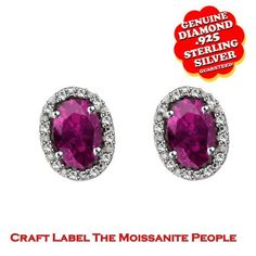 """1/2 Ct Oval Shape Real Rhodolite Real Gemstone & Genuine Diamond Accents Halo Stud Earrings 14K Gold """"Mother\'s Day Gift"""". Starting at $149"""