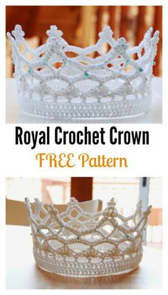 Pretty beaded crochet crown for a princess or even a bride. FREE #crochet pattern.