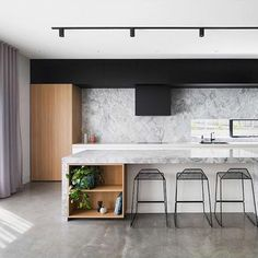Interior Home Design Trends For 2020 - Ideas Polished Concrete Kitchen, Concrete Kitchen Floor, Polished Concrete Flooring, Kitchen Flooring, Kitchen Interior, Kitchen Design, Barbershop Design, Open Plan Kitchen, Kitchen Ideas