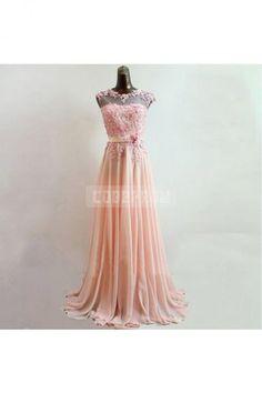 Chiffon A-line Lace Sleeveless Pink Evening Dress