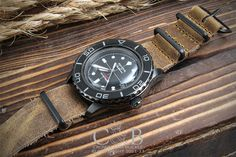 Leather NATO - 22mm Distressed PVD - Leather NATOs - Type - Crown and Buckle