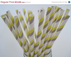 ON SALE  25 Grey and Yellow Strpe Paper by CreativeJuiceCafe, $3.50