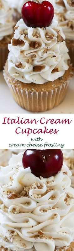 Light, airy and rich vanilla buttermilk and almond cupcakes blended with sweetened coconut and pecans. Topped with the ultimate cream cheese and buttercream frosting with cherries and pecans. These cupcakes will quickly become a family favorite. Serve for the holidays or during summer months when fresh cherries are readily available.