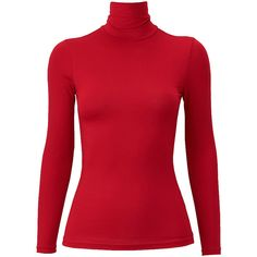 UNIQLO HEATTECH Polo Neck Long Sleeve T-Shirt ($20) ❤ liked on Polyvore featuring tops, t-shirts, long sleeve t shirts, red long sleeve t shirt, long sleeve turtleneck, layered tops and red long sleeve tee