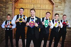 Wedding Picture Idea, groom, Groomsmen Super Hero Shirts,  - Sundance Photography