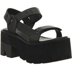 Jeffrey Campbell Mayovista Sandals (4.325 UYU) ❤ liked on Polyvore featuring shoes, sandals, black leather, women, black velcro shoes, black sandals, high heel sandals, black high heel sandals and jeffrey campbell