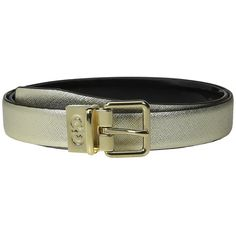 Cole Haan 25mm Saffiano to Patent Feather Edge Reversible Belt (Gold... ($56) ❤ liked on Polyvore featuring accessories, belts, buckle belt, cole haan belt, gold belt, cole haan and patent belt