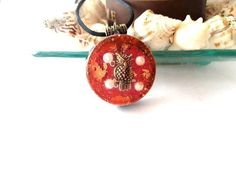 bcd33e65101d Owl Pendant of Orgone Necklace Red EMF Protection   Energy Jewelry Pearls  Orgone Pendant Crystal Chakra Jewel of Good Luck Healing Magical