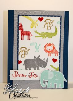 Kid card with Zoo babies from Stampin'Up! http://foliescreatives.blogspot.ca/