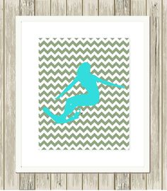 Surfer girl, girls room art, dorm poster, sports art for girls, choose your colors and background patternby PicabooArtStudio, $10.99