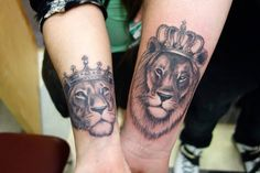 lion lioness crown couple tattoo