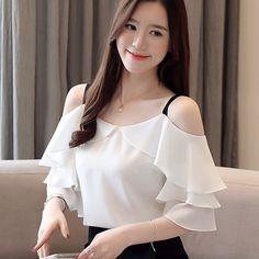 Korean Fashion Chiffon Women Blouses Ruffles Slash Neck White Women Shirts Plus Size Womens Tops and Blusas Femininas Elegante Dress Neck Designs, Blouse Designs, Cute Baby Girl Photos, Plus Size Women's Tops, Embroidery Suits Design, Blouse Styles, Stylish Dresses, Blouses For Women, Ruffle Blouse