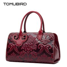137.47$  Know more - http://aixnv.worlditems.win/all/product.php?id=32801510191 - TOMUBIRD 2017 new superior cowhide Genuine leather Designer Embossed Flower Ladies Handmade Leather Tote Satchel Handbags