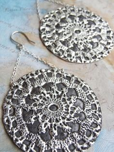 BOHO CHIC Jewelry, Handmade Silver Earrings by HappyGoLicky. CLICK www.HappyGoLickyJewelry.com to see more & use coupon code PIN10 to save 10% on ALL handmade jewelry NOW. #Hippie #Mandala #BohemianClothing #BohoJewelry