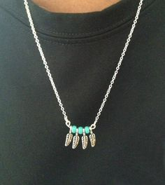 Handmade Sterling Silver Feather Turquoise Necklace