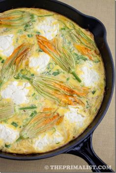 Squash Blossom and Zucchini Frittata: This gorgeous summer frittata screams summer, with squash blossoms, zucchini, and fromage frais. Light and delicious!