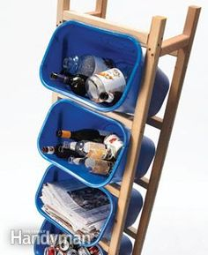 (link) Stacked Recycle Bin Tower ~ Keep recycling  separated & off the ground with this vertical floor-space saving storage unit. Five plastic containers, six 2x2s & screws & 1 hr to make! Frame fits containers that have a top that measures 14-1/2 in. x 10 in. & are 15 in. tall. If using a different-size, adjust the distance between the uprights so the 2x2s will catch the lip of the container. Then adjust the spacing of the horizontal rungs for a snug fit when the container is angled as shown.