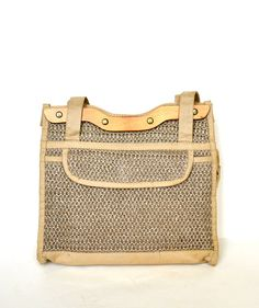 FREE SHIPPING Vintage Tan Raffia Straw Woven by StarletsVintage, $28.95