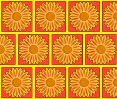 daisy bricks fabric by reen_walker on Spoonflower - custom fabric