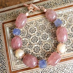 Strawberry quartz, Kasumi pearl,Kyanit with Vermeil clasp and findings bracelet