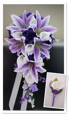 Purple Lavender Rose and White Calla Lily Rose Cascade Bridal Wedding Cascading Bouquet & Boutonniere