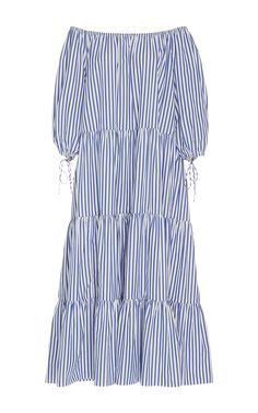 Blue Stripe Tiered Peasant Dress by MDS STRIPES Now Available on Moda Operandi