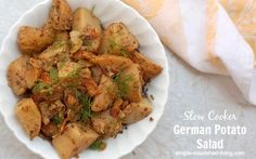 Slow cooker German potato salad, a light and healthy side dish, delicious served warm or at room temperature, 121 calories, 3 Weight Watchers Points Plus
