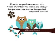 Kids Wall Art, Baby Room Decor, Nursery Art Print, Teal, Turquoise, Brown, Owls, Promise Me You'll Always Remember, 8x10 Print