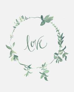 green watercolor love wreath